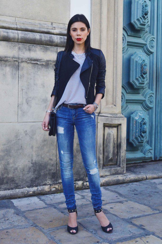 Look do dia couro listras jeans detonado Larissa Barbosa 02